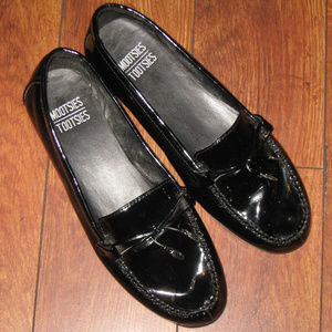 Black Lacquer Slip On Loafers Work Wearing Shoes